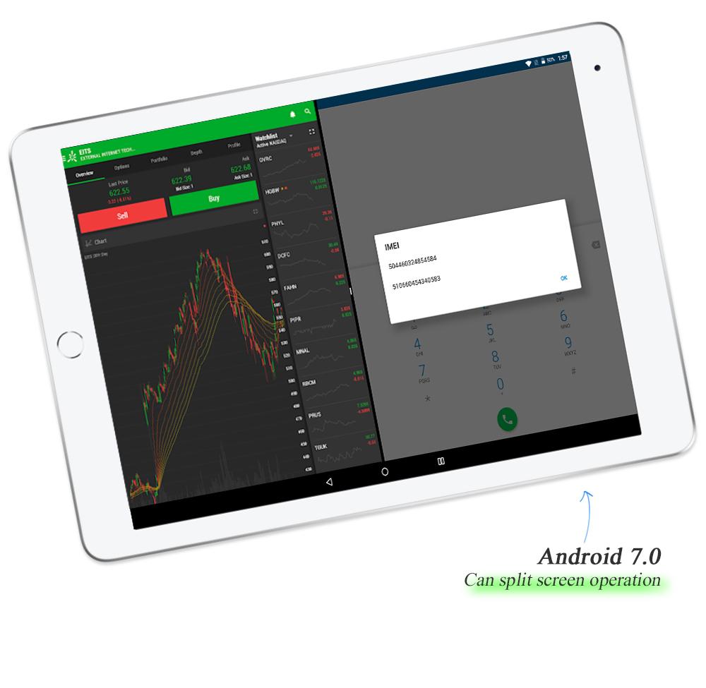 Tablet Showing Split Screen Functionality